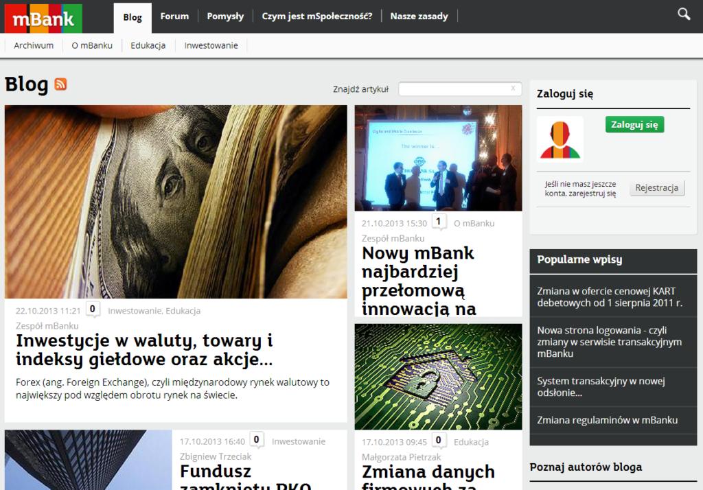 Blog mBanku - www.mbank.pl/blog