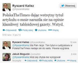 Ryszard Kalisz na Twitterze
