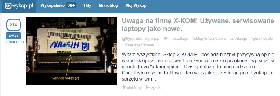 Kryzys marki X-KOM na Wykop.pl