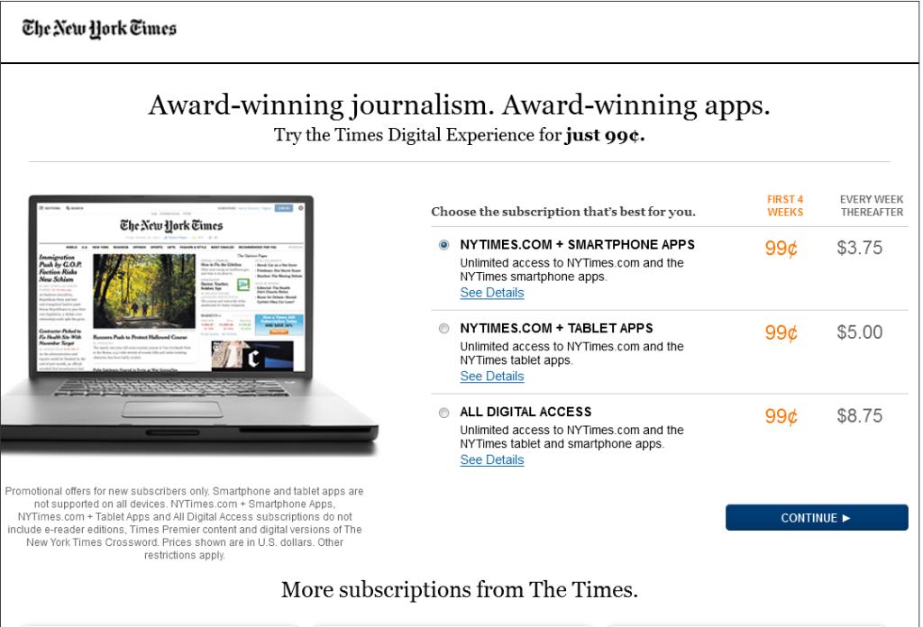 Czy zapłacilibyście 3,75 USD za dostęp do NYTimesa?