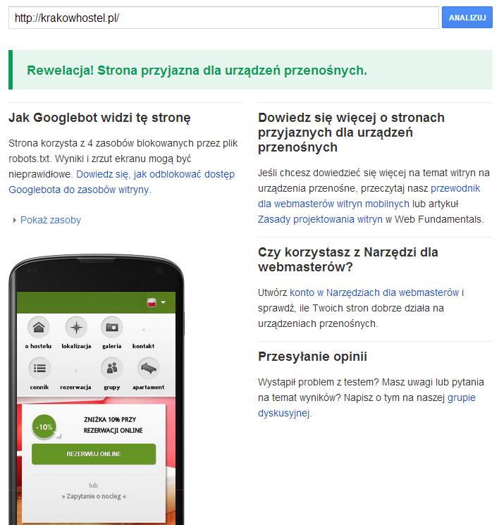 Kraków Hostel - test mobile