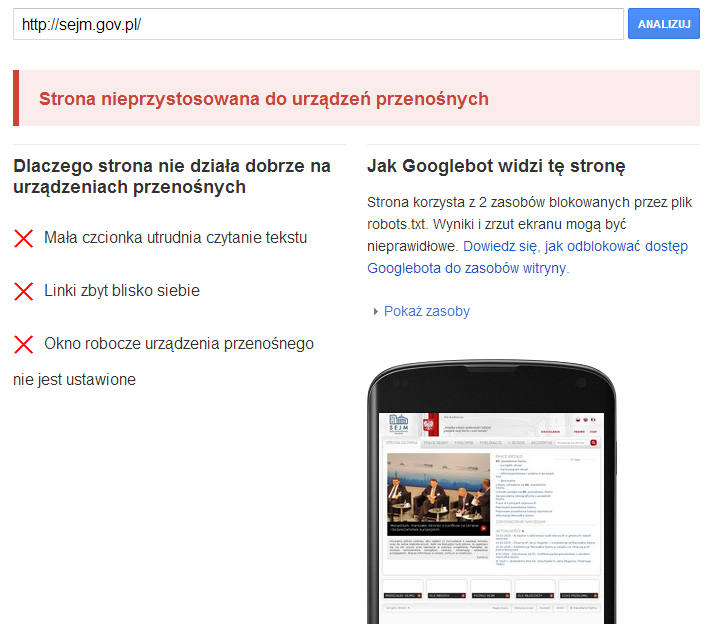 Sejm RP - test mobile