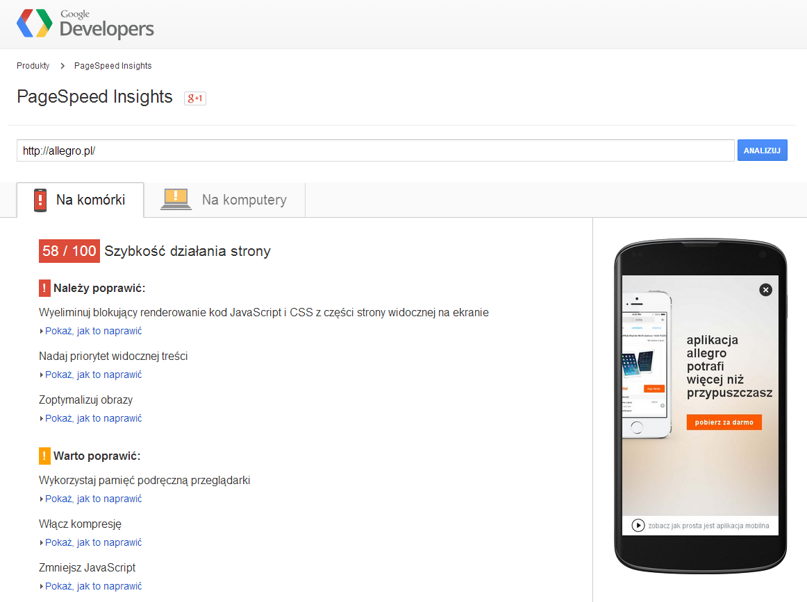 Allegro w Google PageSpeed Insights