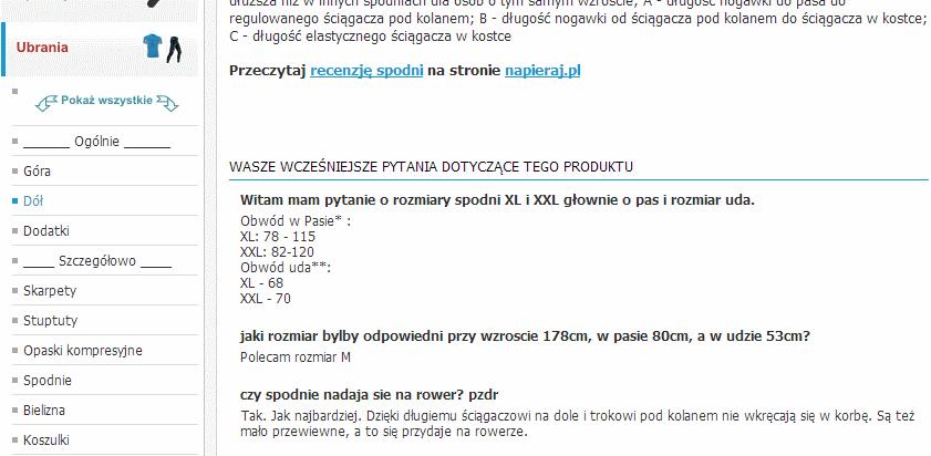 Sklep.napieraj.pl: przykład uzupełniania opisu produktu o pytania klientów