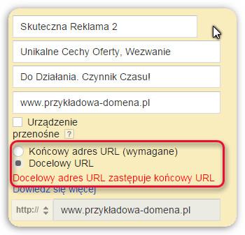docelowy i końcowy URL