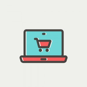 Online shopping icon thin line for web and mobile, modern minimalistic flat design. Vector icon with dark grey outline and offset colour on light grey background.