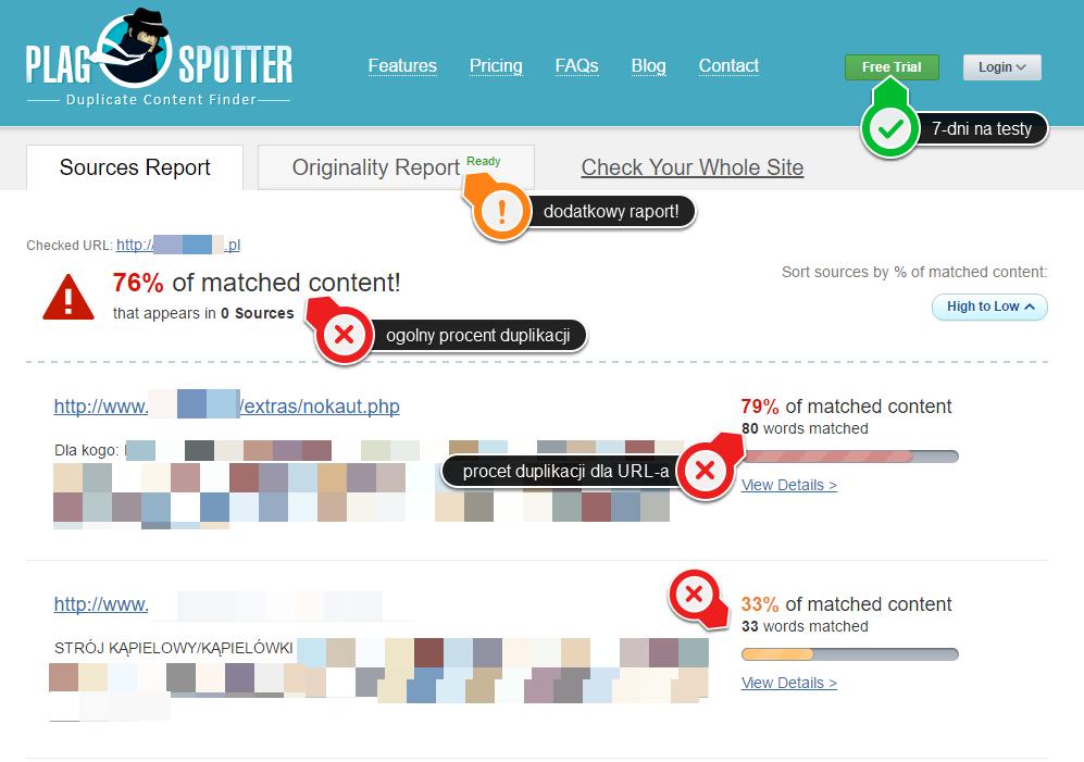Plagspotter - wykrywanie duplikatów treści