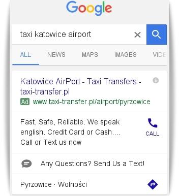 Rozszerzenie wiadomości SMS w AdWords widok