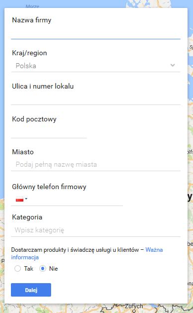 Wizytówka Google Maps formularz