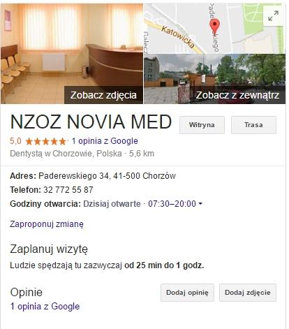 AdWords dla przychodni wizytówka