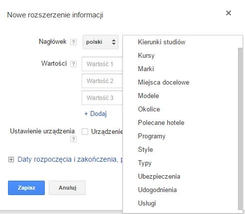 rozszerzenia adwords informacje