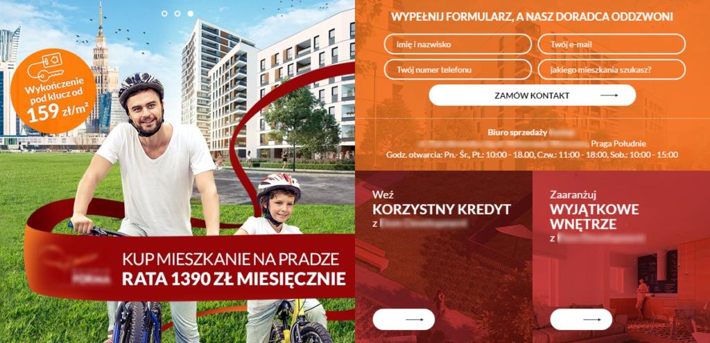 """Rys. 7 Przykład """"przeładowanego"""" landing page jednego z deweloperów na warszawskiej Pradze Południe."""