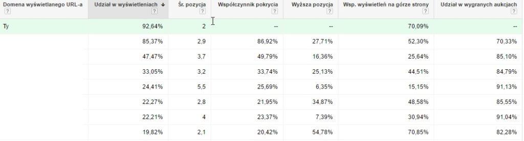Przykład 2. Statystyki kampanii w sieci wyszukiwania.