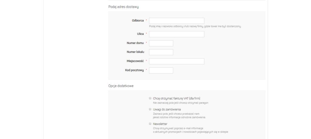Teksty do sklepu internetowego formularz