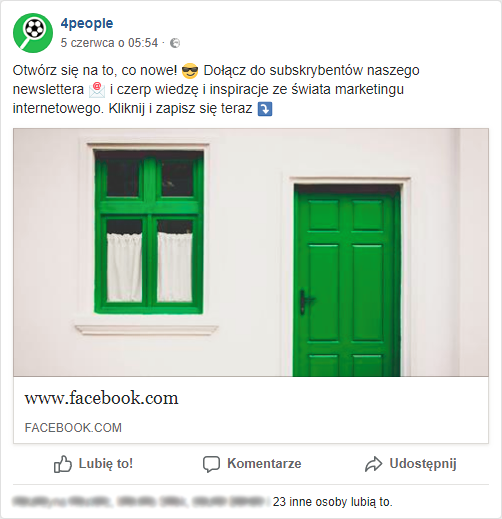 Post na FB promocja newslettera