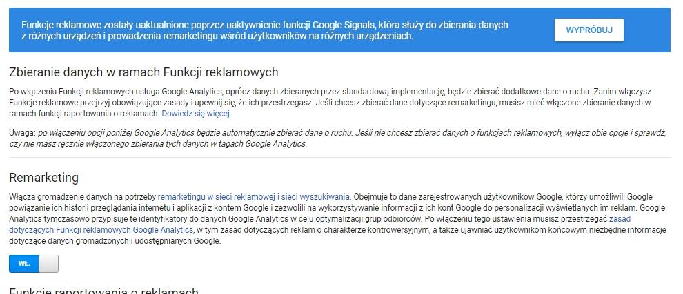 uruchamianie Google Signals