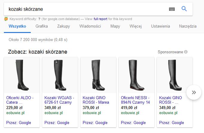 wyświetlanie Google Zakupy