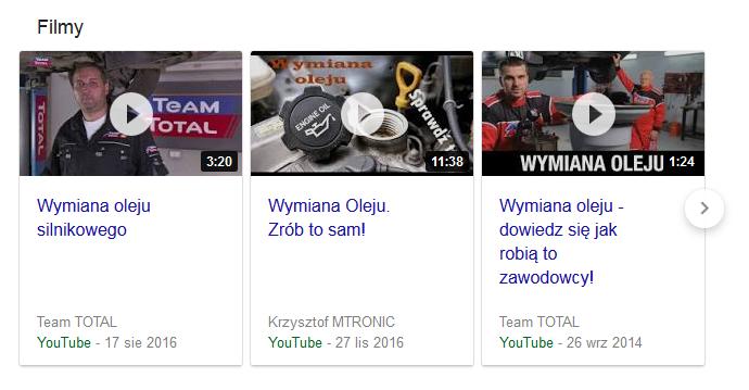 YouTube w wynikach wyszukiwania