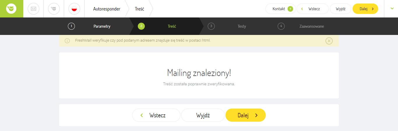 mailing założony komunikat freshmail