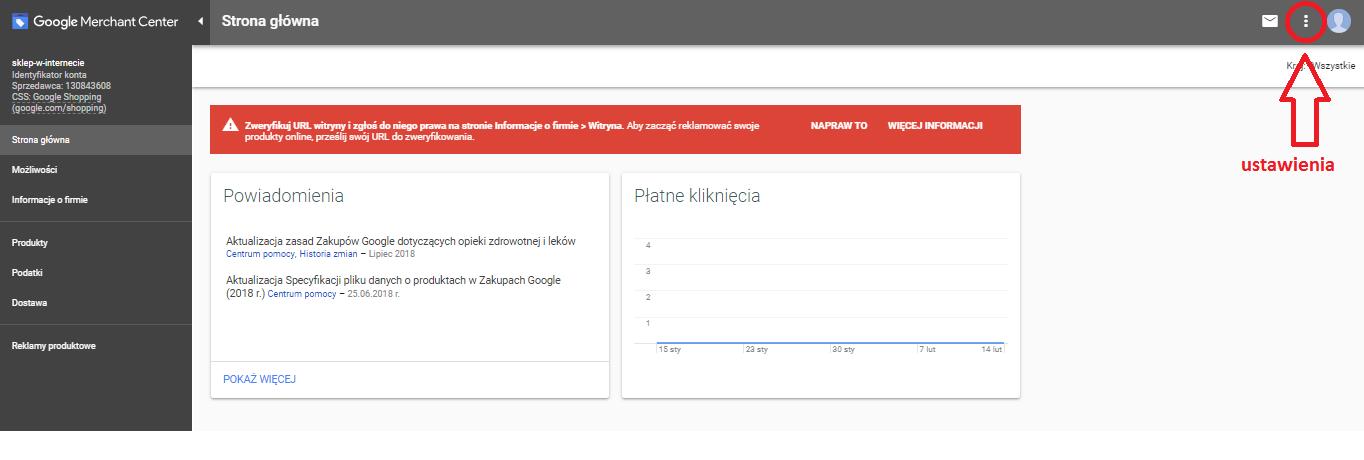 ustawienie Google Merchant Center