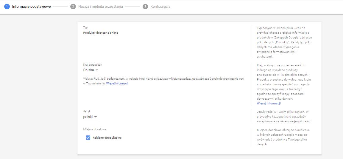 Google Merchant Center kraj sprzedaży