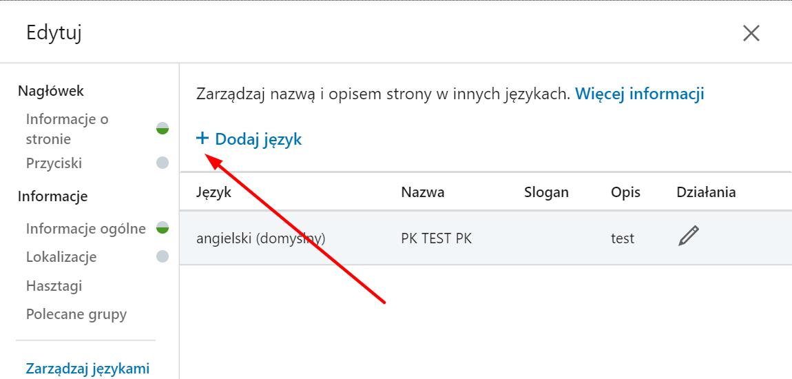 języki LinkedIn