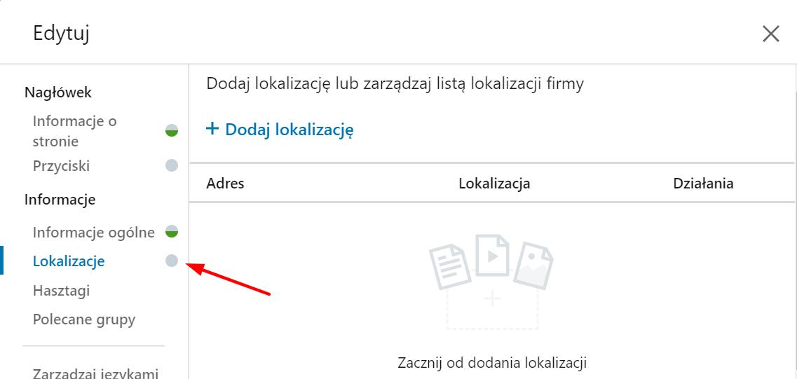 lokalizacja firmy LinkedIn