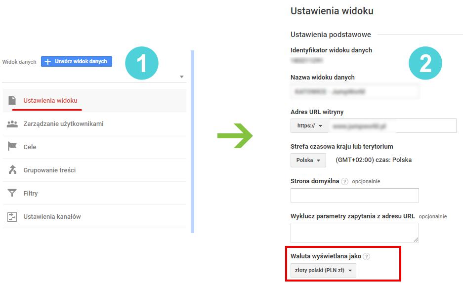 zmiana waluty w Google Analytics
