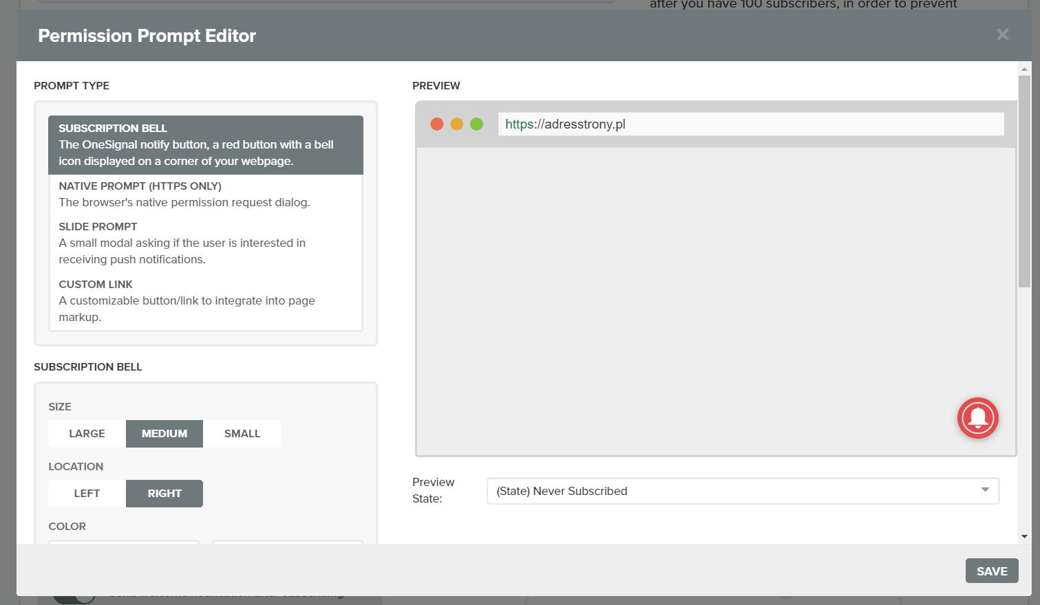 konfiguracja powiadomień web push