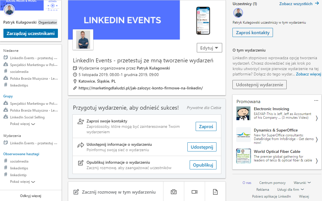 promocja wydarzenia na linkedin