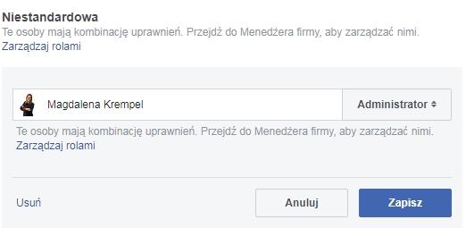 uprawnienia użytkownika na fb