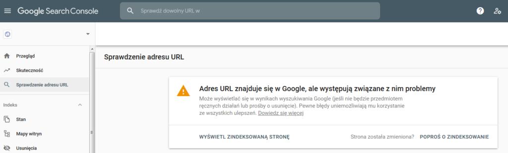 Weryfikowanie URL w Google Search Console