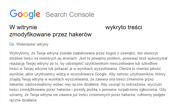 Google Search Console - atak hakerów